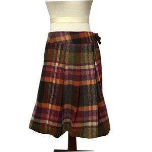 MAX MARA $425 weekend plaid wool pleated skirt 10